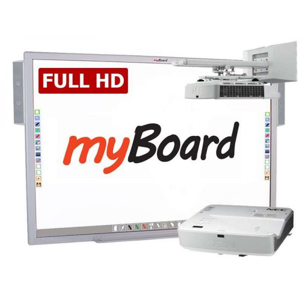 Zestaw interaktywny myBoard Silver 90 Full HD, projektor NEC U321H FullHD oraz głośniki myBoard sound AMP-32