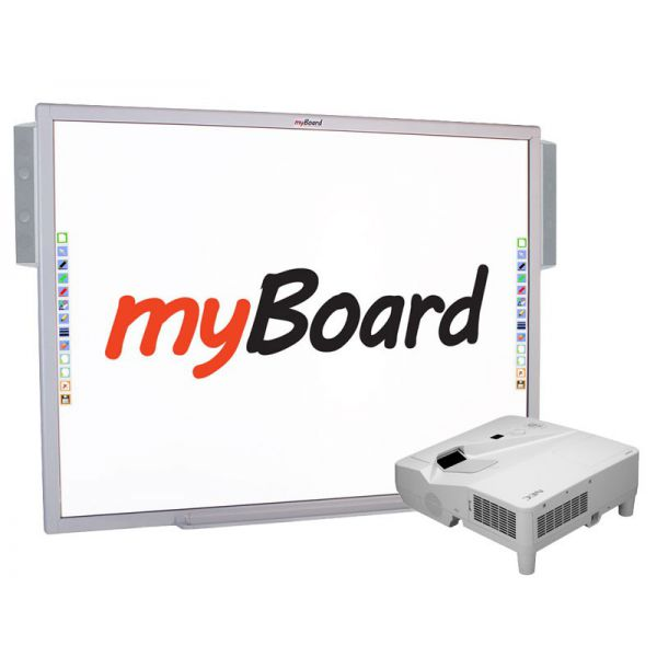 Zestaw interaktywny myBoard Silver 84''S, projektor NEC UM361X oraz głośniki myBoard sound AMP-32