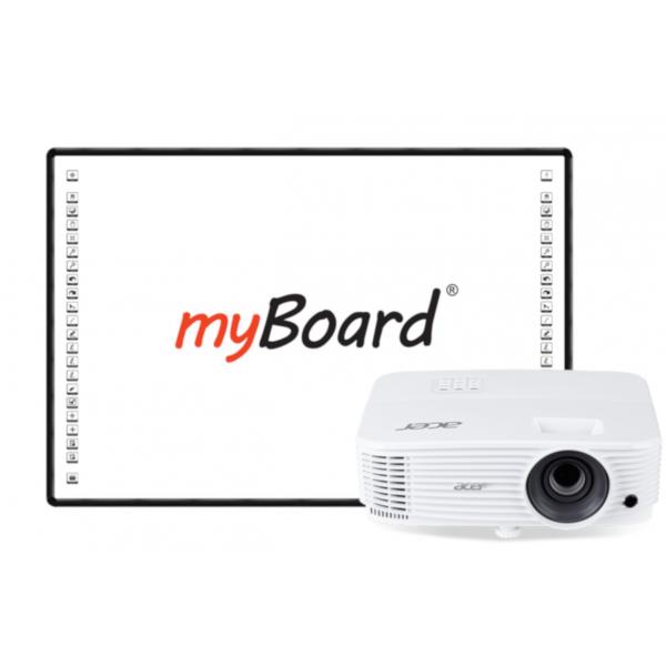 Zestaw interaktywny myBoard Black 82''C, projektor Acer P1150, uchwyt  oraz głośniki myBoard sound AMP-32