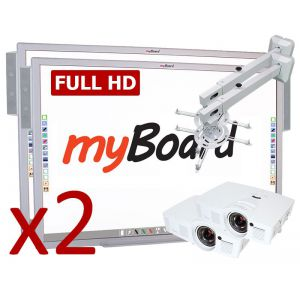 """Zestaw interaktywny Duet Black Full HD myBoard Silver 90"""" Panorama / Optoma EH200ST + montaż i szkolenie"""